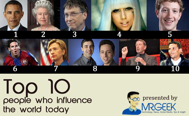Top 10 people who influence the world today [Personal Opinion]