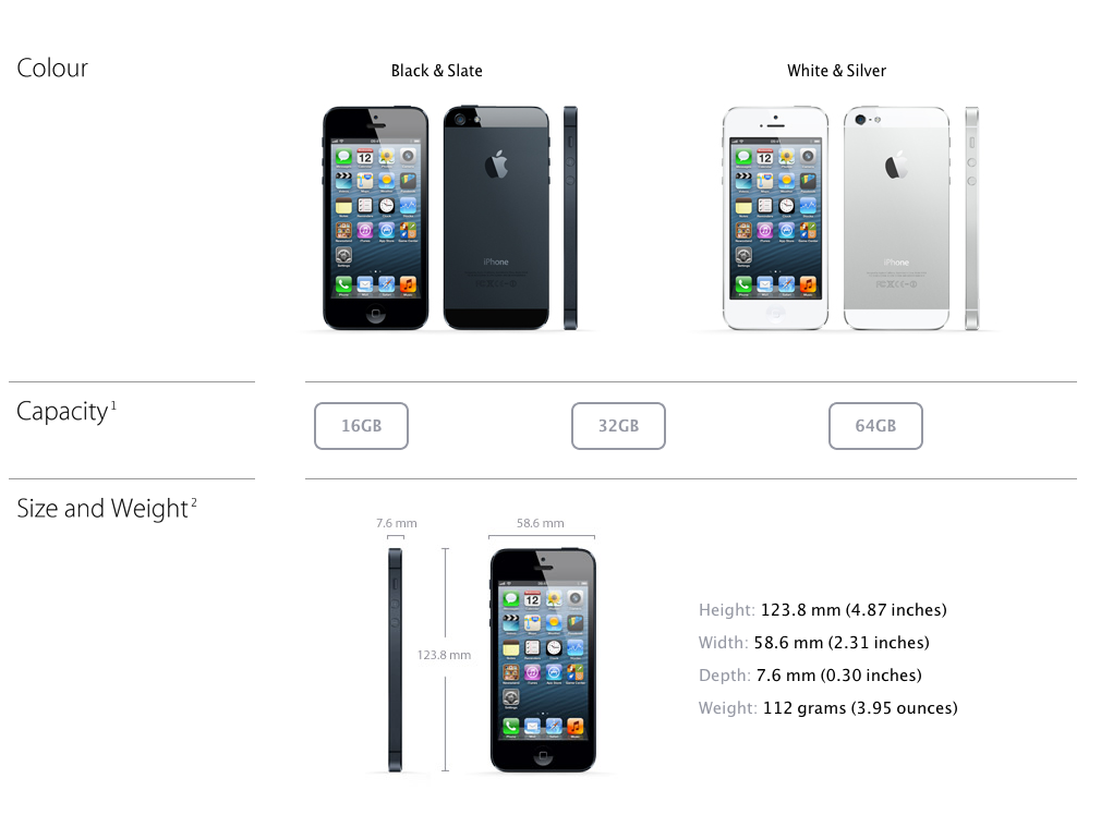iPhone 5 options
