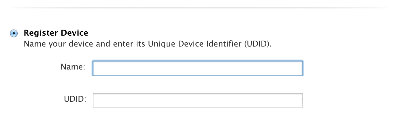 Entering Device Name and UDID