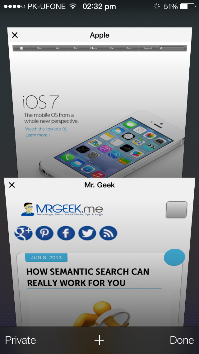 Safari iOS 7 Right