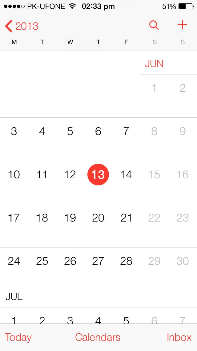 Calander iOS 7