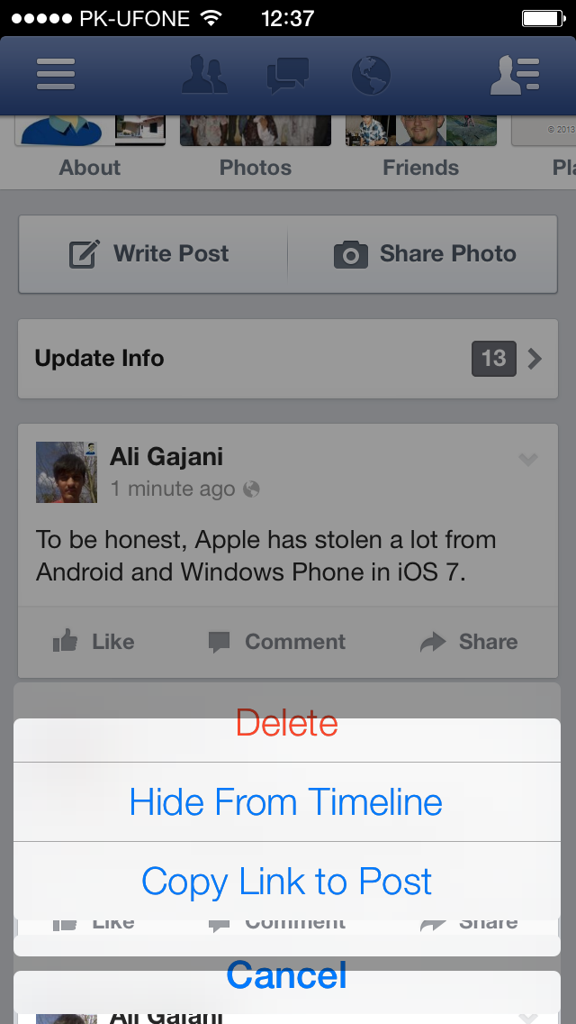 Facebook iOS 7 UI Glitch