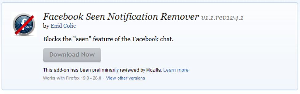 Facebook Seen Notification Remover Firefox